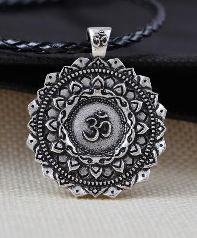 Majestic Lotus Mandala Om Necklace Style 3 - Cord Necklace