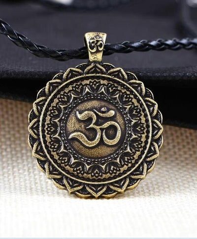 Majestic Lotus Mandala Om Necklace Style 4 (Bronze)- Cord Necklace