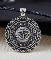 Majestic Lotus Mandala Om Necklace Style 4 - Cord Necklace