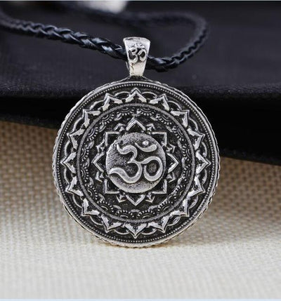 Majestic Lotus Mandala Om Necklace Style 5 - Cord Necklace
