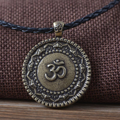 Majestic Lotus Mandala Om Necklace Style 6 (Bronze) - Cord Necklace