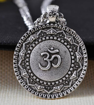 Majestic Lotus Mandala Om Necklace Style 6 - Chain Necklace
