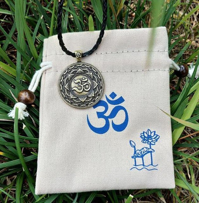 Majestic Lotus Mandala Om Necklace Style 7 (Bronze) - Cord Necklace