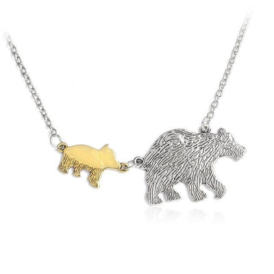 Mama Bear and Cubs Two Tone Necklace 1 Cub Necklace