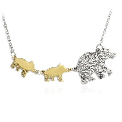 Mama Bear and Cubs Two Tone Necklace 2 Cubs Necklace
