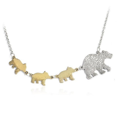Mama Bear and Cubs Two Tone Necklace 3 Cubs Necklace