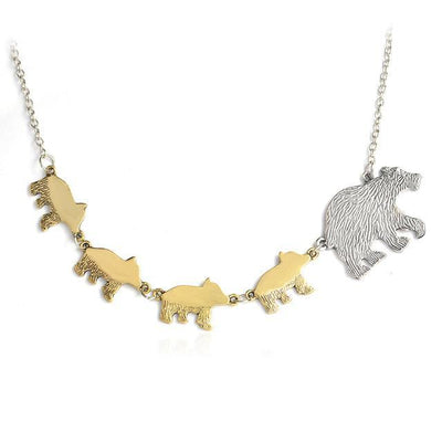Mama Bear and Cubs Two Tone Necklace 4 Cubs Necklace