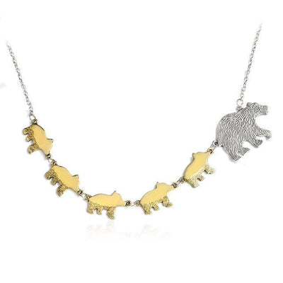 Mama Bear and Cubs Two Tone Necklace 5 Cubs Necklace