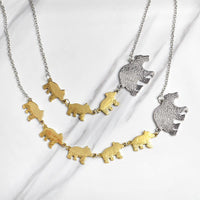 Mama Bear and Cubs Two Tone Necklace Necklace