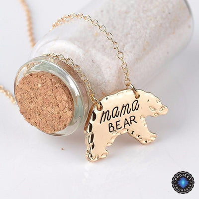Mama Bear Pendant Necklace Gold Necklace