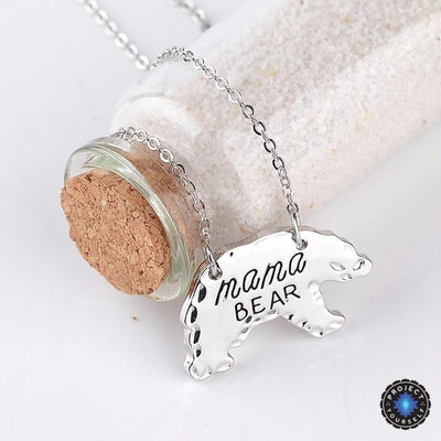 Mama Bear Pendant Necklace Silver Necklace