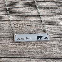Mama Bear Stamped Tag Necklace Necklace