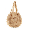 Mandala Knitted Straw Bag Beige Bags