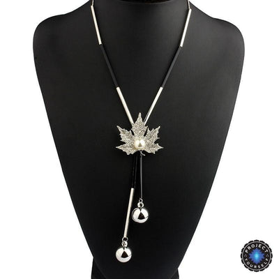 Maple Leaf Tassel Pendant Necklace Silver Plated Necklace