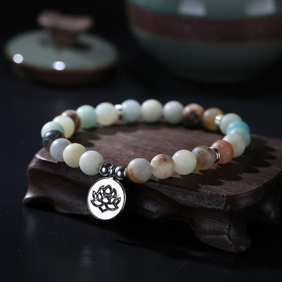 Matte Amazonite Beads Lotus Charm Mala Set Jewelry Set