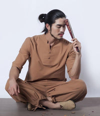 Men's Cotton Meditation Clothing 2-Piece Set Brown / M Clothing