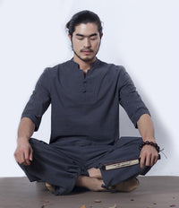 Men's Cotton Meditation Clothing 2-Piece Set Gray / M Clothing