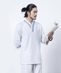 Men's Geometric Embroidered 2-Piece Meditation Clothing Set Clothing