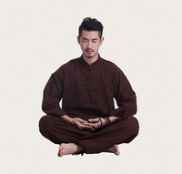 Men's Linen Meditation Clothing 2-Piece Set Brown / M Clothing