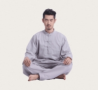 Men's Linen Meditation Clothing 2-Piece Set Gray / M Clothing