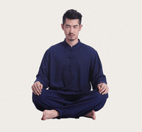 Men's Linen Meditation Clothing 2-Piece Set Navy / M Clothing