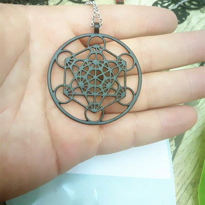 Metatron's Cube Pendant Necklace Black Necklace