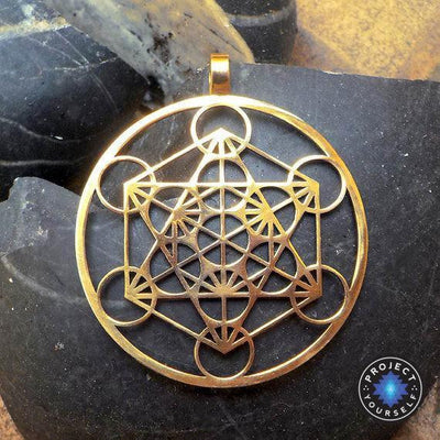 Metatron's Cube Pendant Necklace Gold Necklace