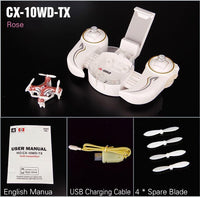 Mini Quadcopter Drone with 0.3MP Camera and Smartphone Dock CX 10WD TX Rose Toys