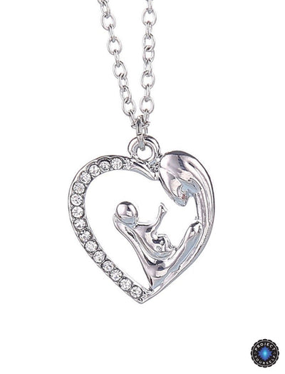 Mother and Baby Part of My Heart Crystal Studded Pendant Necklace Necklace