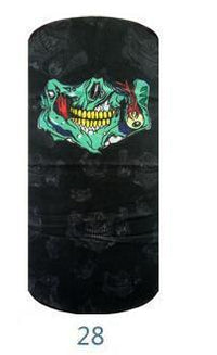 Multifunctional Seamless Bandana Black Zombie Mouth Bandana