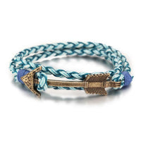 Multiwrap Arrow Leather Bracelet Blue Weave - Bronze Bracelet