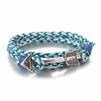 Multiwrap Arrow Leather Bracelet Blue Weave - Silver Bracelet