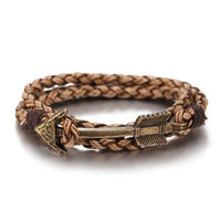 Multiwrap Arrow Leather Bracelet Light Brown Weave - Bronze Bracelet