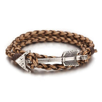 Multiwrap Arrow Leather Bracelet Light Brown Weave - Silver Bracelet