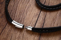 Multiwrap Genuine Black Leather Stainless Steel Bracelet Bracelets