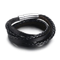 Multiwrap Genuine Black Leather Stainless Steel Bracelet Buy 1 - Save 50% Bracelets