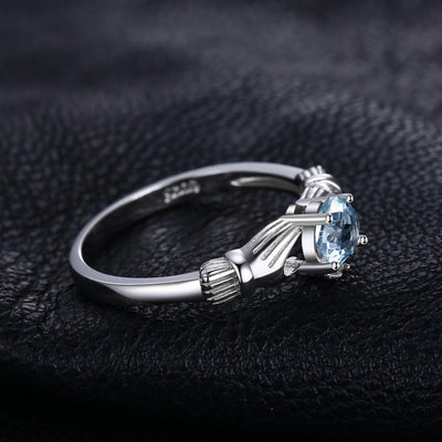 Natural Aquamarine Sterling Silver Ring Rings