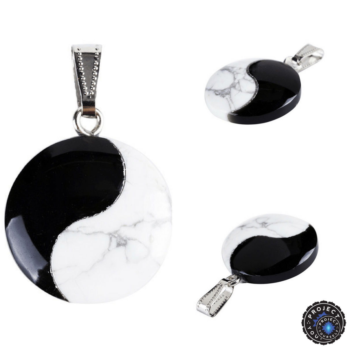 Natural black obsidian and white turquoise taijitu yin yang natural black obsidian and white turquoise taijitu yin yang pendant pendant aloadofball Choice Image