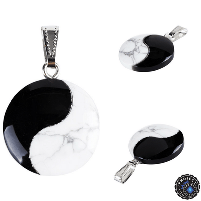 Natural black obsidian and white turquoise taijitu yin yang pendant natural black obsidian and white turquoise taijitu yin yang pendant pendant aloadofball Images