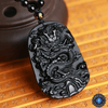 Natural Black Obsidian Dragon Drop Pendant Necklace Necklace
