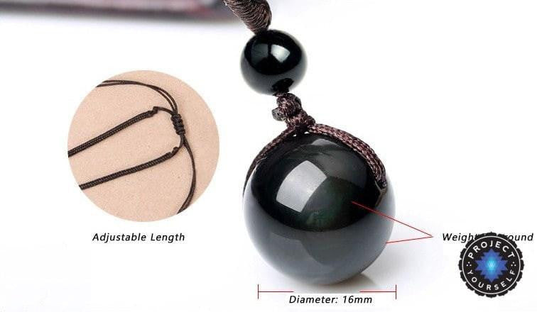 Natural black rainbow eye obsidian sphere pendant necklace project natural black rainbow eye obsidian sphere pendant necklace necklace aloadofball Image collections
