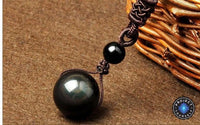Natural Black Rainbow Eye Obsidian Sphere Pendant Necklace Necklace