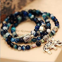Natural Blue Tourmaline Buddha and Elephant Charm Wrap Bracelet Bracelet