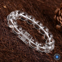 Natural Clear Crystal Beads 6 Syllable Mantra Bracelet Bracelet