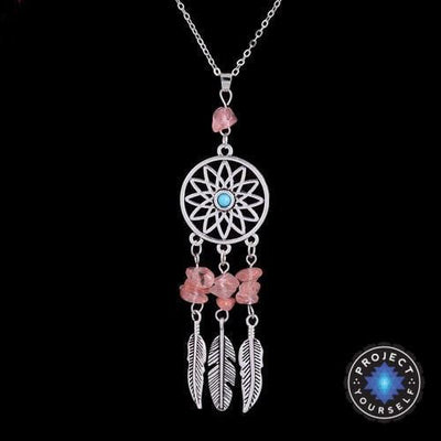 Natural crystal charm dream catcher pendant necklace project yourself natural crystal charm dream catcher pendant necklace red agate necklace mozeypictures Choice Image