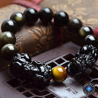 Natural Golden Sheen Obsidian Dragon Bracelet 10mm Beads Bracelet