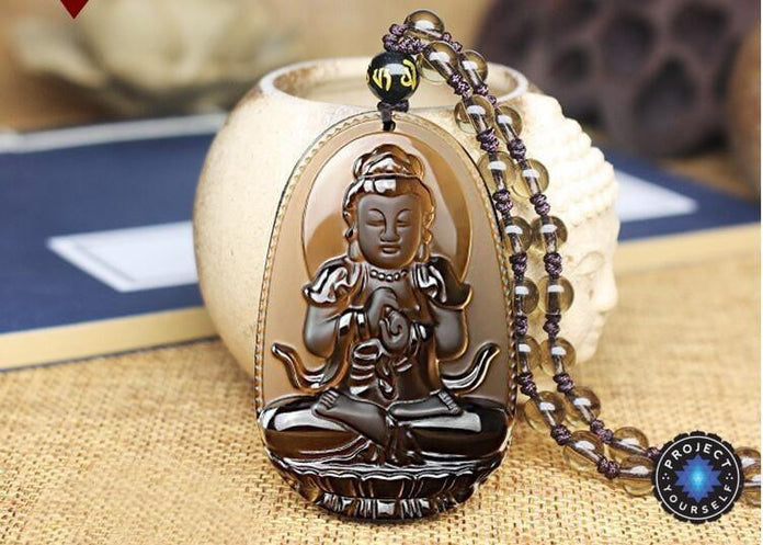 Natural ice kinds of obsidian pendant  necklace Avalokitesvara Compassion Heart Sutra