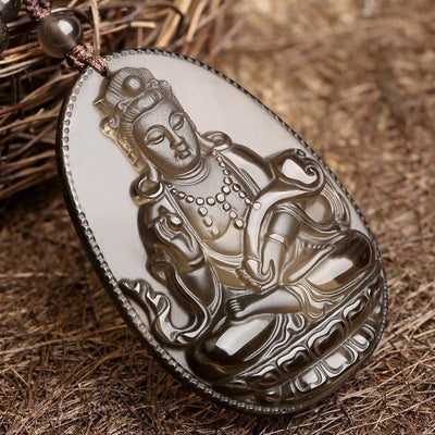 Natural Ice Obsidian Guanyin Pendant Necklace Necklace