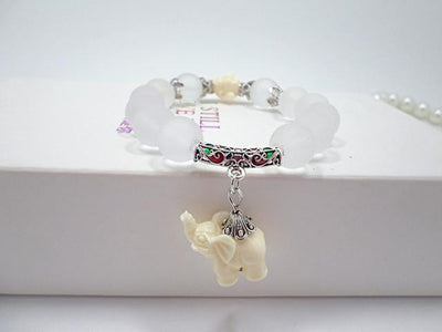 Natural Matte Crystal Stone Beads Happy Buddha Elephant Dangle Bracelet Silver Bracelet