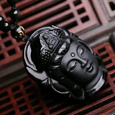 Natural Obsidian Buddha Pendants Necklace Necklace